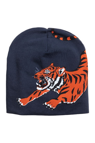 Printed jersey hat - Dark blue/Tiger - Kids | H&M 1